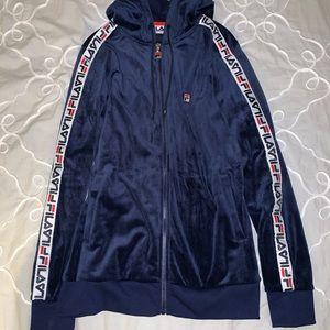 Navy blue FILA velour zip up sweatshirt